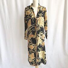 Zara Black Tropical Floral Print Long Button Up Shirt Dress/ Duster Jacket XS