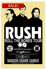 Rush : Roll The Bones Tour at Msg Concert Poster 1991 12x18