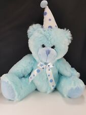 """Happy Birthday Blue Bear Party Hat And Bow Stuffed Soft Plush 14"""" Beverly Hills"""