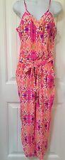 Alice Trixie Designer Pink Lulu Olivia Print Silk Blouson Pants Jumpsuit S