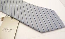 Authentic Armani Men's Blue Embroidered Stripes Tie S
