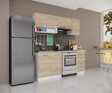 Küche Singleküche 180cm Eiche SO Modulküche Einbauküche Küchenblock Küchenzeile