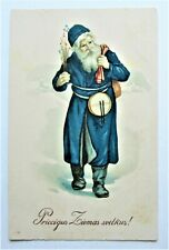 CHRISTMAS Greetings SANTA CLAUS in Blue Carries Toys in the Snow Postcard