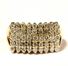 14k yellow gold 1ct SI2 H diamond cluster womens anniversary ring 5.6g estate