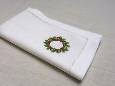 22 Inch White Ivory Hollyberry Christmas Hemstitch Linen Cloth Napkin Set of 12