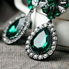 Vintage Lady Green Rhinestone Flower Teardrop Statement Dangle Stud Earrings