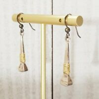 Vintage 925 Silver Nautical Post Anchor Gold Tone Rope Drop Hook Earrings