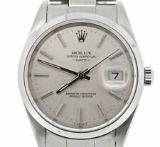 Mens Rolex Date Stainless Steel Watch Oyster Band Silver Dial NO HOLES 15200