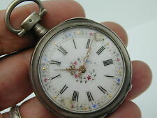 VINTAGE 1800S SILVER FLORAL COLORED DIAL 47 MM POCKET WATCH CILANDER ESCAEMENT