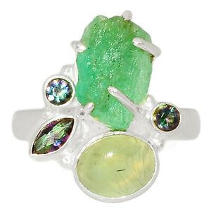 Russian Emerald Rough, Prehnite & Rainbow Topaz 925 Silver Ring s.9 BR84981