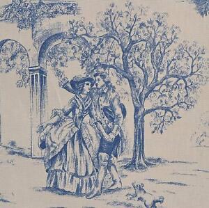 Textiles français Toile de Jouy Fabric   Aimee (Blue)