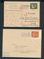 Bund 1957, Mi. 250-51 Briefe, zwei portorichtige EF!