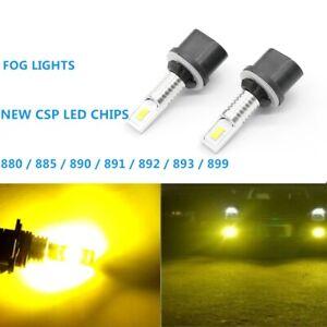 Pair 880 899 CSP LED Fog Light Bulbs Conversion Kit OEM Lamps 55W 3000K/Yellow
