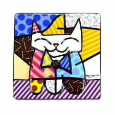 """ROMERO BRITTO PORCELAIN """"SAMMY"""" CAT WALL PLATE ** NEW ** GIFT BOXED"""
