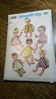 """Simplicity Sewing Pattern 7368 Doll Wardrobe For 20"""" Doll 6 Outfits 1967 Vintage"""