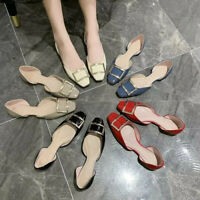 Womens Flat Shoes Square Toe Pumps Slip On Metal Decor Ladies PU Leather Loafer