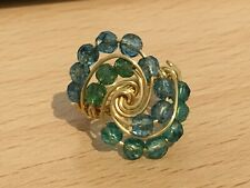 Handmade Gold Plated Copper Wire Swirl Size N Ring with Dyed Blue Quartz Beads