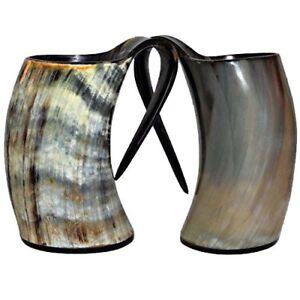 Halloween Set Of 2 Viking Natural Drinking Horn Mugs For Beer Wine Tankard