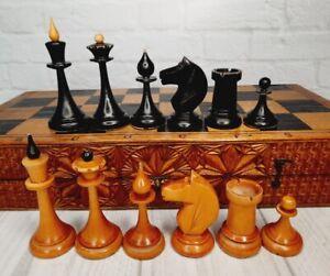 Old Wooden Chess USSR Full Set Grossmeister King 9.5 cm Vintage Soviet 40X40 cm