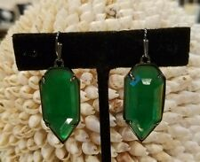 Kendra Scott Rare Emerald Green Palmer Earrings in Gunmetal