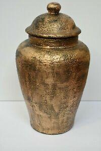 Hand Crafted Large Ceramic Ginger Jar Hand Painted Golden Burnished Bronze
