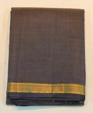 Indian Traditional Raw Silk Grey Saree Ethnic Zari Border Sari Party Wear Dress