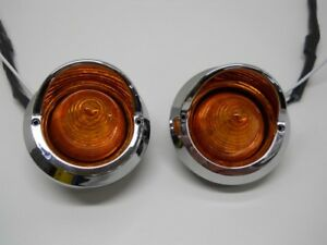 "(2) Amber 2"" Round 9 LED Beehive Mini Marker Turn Signal Lights / Golf Carts"