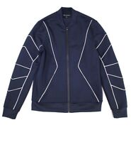 INC Mens Jackets Blue Size 2XL Piped-Trim Full Zip Stretch Knit Bomber $79 016