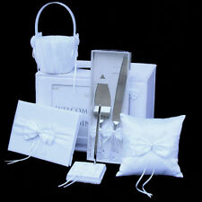 6Pce Wedding Wishing Well/Guest Book/Pen/Pillow/Basket/Cake Knife Server set BOW