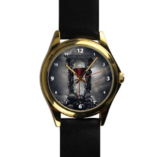 Dark Gothic Sand Timer Filled with Blood Skull Black Leather Strap Wrist Watch
