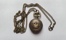 MINI Bronze CROWN  Watch  Necklace Pendent Retro + Free Velvet Pouch
