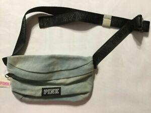 NEW Victorias Secret PINK Belt Bag Fanny Pack Waist Purse Logo Denim OS N5187