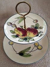 VINTAGE DAVAR MID-CENTURY HANDPAINTED TWO-TIERED SERVING  TRAY