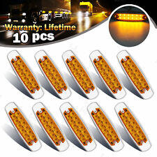10x Thin LED Marker Clearance Light 12LED Pigtail Connector Amber Trailer Lights