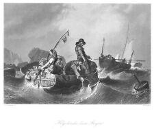 Helgoland, Fischer beim Bergen, Gesamtansicht, Original-Stahlstich von ca. 1860