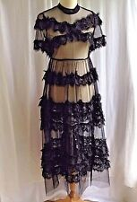 Tiered Black Eyelash Lace Sheer Gothic Midi Dress Short Sleeve Size S by O&Y