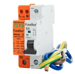 Fusebox SPDCUT2 Surge Protection Device & 32A MCB Type 2 18th Edition