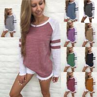 Women Crewneck Long Sleeve T-shirt Sweatshirt Pullover Casual Loose Blouse Tops