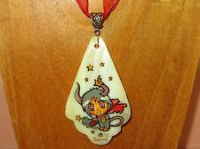 Russian Hand Painted TAURUS Shell Pendant April May Horoscope Zodiac Star Sign