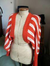 H&M Orange and Cream stripe Boho Mohair Bolero Shrug Cardigan Size