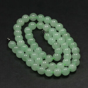 """18"""" & 8mm Beads Emerald Green Icy Jade Necklace Beaded Round Beaded A-9181"""