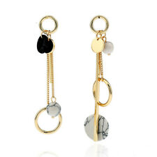 Jewelry Marble Metal Ring Earrings Medal Trendy Long Personality Fashion Circle