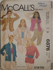 McCall's 6876 Sewing Pattern Vintage '79 Lined Mandarin Collar Jacket Size 10 UC