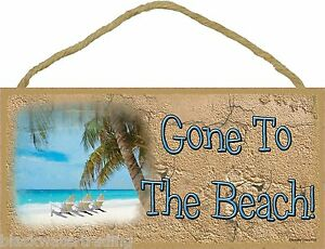 """Gone To The Beach Chairs Sign Plaque 5""""x10"""" Nautical"""