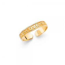 14K Solid Yellow Gold Love Heart Toe Ring Adjustable - Polished Foot Band Women