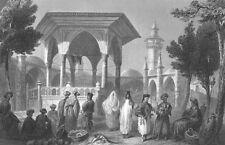 Israel JAFFA JOPPA TEL AVIV BAZAAR MARKET CAFES SHOPS ~ 1838 Art Print Engraving