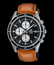 EFR-526L-1B Black Casio Men Watches Geunine Leather Band Chronograph Date Analog