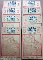 1920s Tourung Club Italian BASKET D'ITALIA maps geograiche by n°1 to n°8