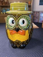 Vintage mid century modern Owl Shaped Cookie Jar with Hat lid made in Japan