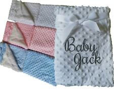 WHITE PINK BLUE LUXURY THICK SHERPA PERSONALISED EMBROIDERED DIMPLE BABY BLANKET